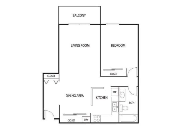 Floor Plan  Valley Pond Apartments in Apple Valley, MN 1 Bedroom 1 Bath, opens a dialog