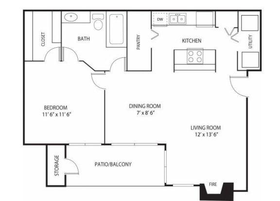 Floor Plan  Eden Commons Apartments in Eden Prairie, MN 1 Bedroom 1 Bath