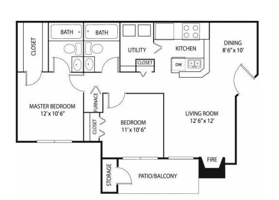 Floor Plan  Eden Commons Apartments in Eden Prairie, MN 2 Bedroom 2 Bath
