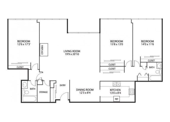 Floor Plan  The Edina Towers Apartments in Edina, MN 3 Bedroom 2 Bath Penthouse, opens a dialog