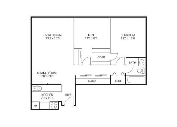 Floor Plan  The Edina Towers Apartments in Edina, MN 1 Bedroom 1 Bath Plus Den, opens a dialog