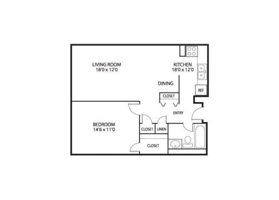 Floor Plan  The Edina Towers Apartments in Edina, MN 1 Bedroom 1 Bath, opens a dialog