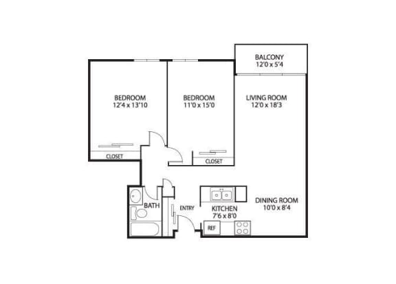 Floor Plan  The Edina Towers Apartments in Edina, MN 2 Bedroom 1 Bath, opens a dialog