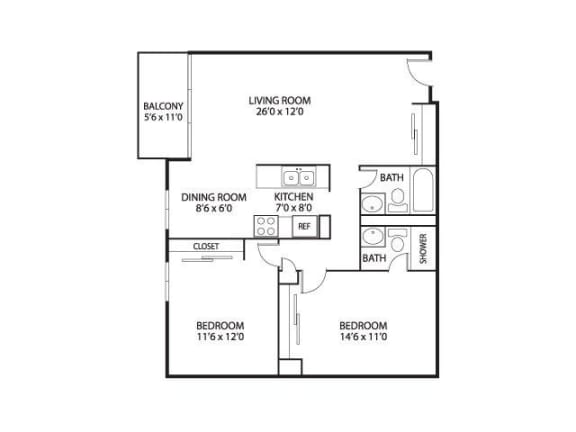 Floor Plan  The Edina Towers Apartments in Edina, MN 2 Bedroom 2 Bath, opens a dialog