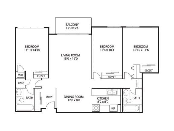 Floor Plan  The Edina Towers Apartments in Edina, MN 3 Bedroom 2 Bath, opens a dialog
