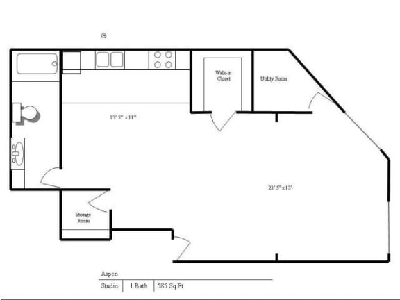 Floor Plan  Cedars Lakeside Apartments in Little Canada, MN Studio Apartment, opens a dialog