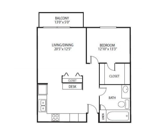 Floor Plan  Cedars Lakeside Apartments in Little Canada, MN 1 Bedroom Apartment Birch Floor Plan, opens a dialog