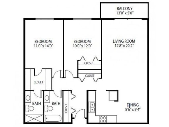 Floor Plan  Cedars Lakeside Apartments in Little Canada, MN 2 Bedroom Apartment Magnolia Floor Plan, opens a dialog