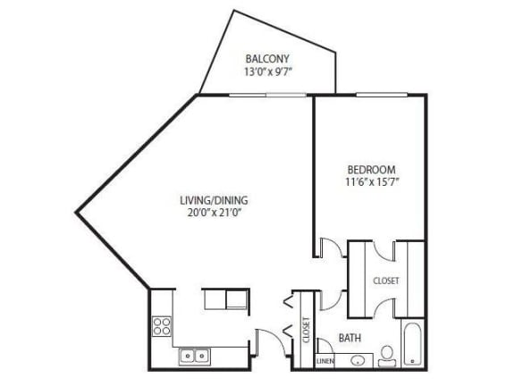 Floor Plan  Cedars Lakeside Apartments in Little Canada, MN 1 Bedroom Apartment Mahogany Floor Plan