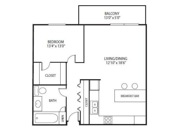 Floor Plan  Cedars Lakeside Apartments in Little Canada, MN 1 Bedroom Apartment Redwood Floor Plan, opens a dialog