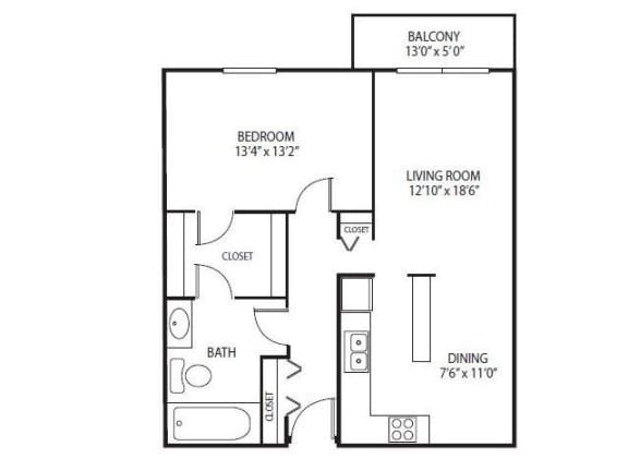 Floor Plan  Cedars Lakeside Apartments in Little Canada, MN 1 Bedroom Apartment Ridge Floor Plan, opens a dialog