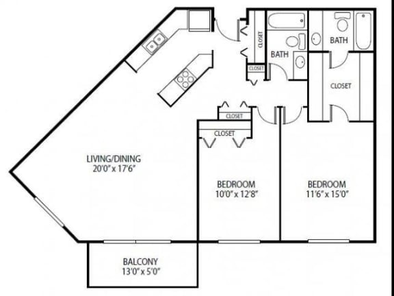 Floor Plan  Cedars Lakeside Apartments in Little Canada, MN 2 Bedroom Apartment Royal Oak Floor Plan, opens a dialog