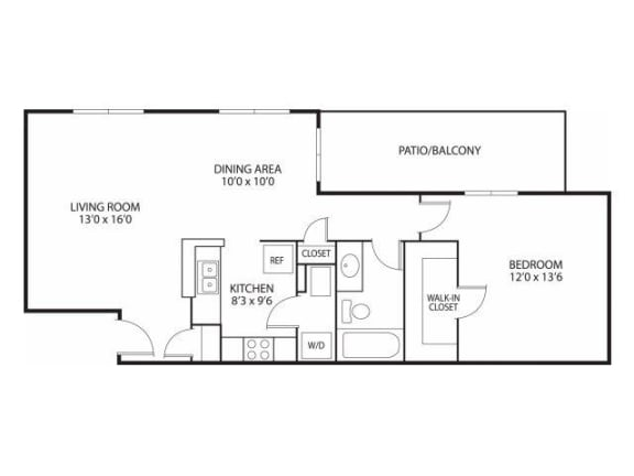 Floor Plan  Mallard Ridge Apartments in Maple Grove, MN 1 Bedroom 1 Bathroom