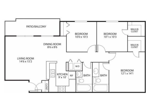 Floor Plan  Mallard Ridge Apartments in Maple Grove, MN 3 Bedroom 2 Bathroom