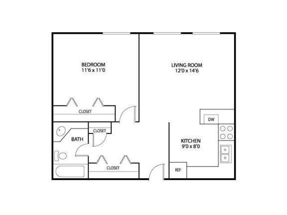 Floor Plan  Ridgewood Arches Apartments in Minneapolis, MN 1 Bedroom 1 Bath, opens a dialog