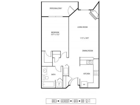Floor Plan  Regency Woods Apartments in Minnetonka, MN 1 Bedroom 1 Bath