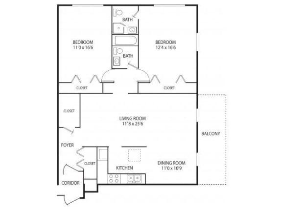 Floor Plan  Medicine Lake Apartments in Plymouth, MN 2 Bedroom 2 Bathroom