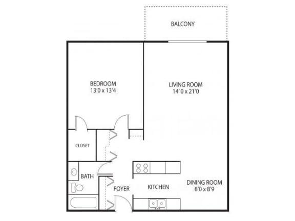 Floor Plan  Medicine Lake Apartments in Plymouth, MN 1 Bedroom 1 Bathroom
