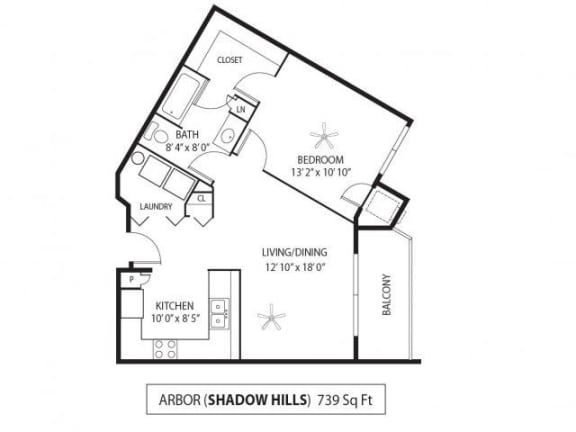 Floor Plan  Shadow Hills Apartments in Plymouth, MN 1 Bedroom 1 Bath