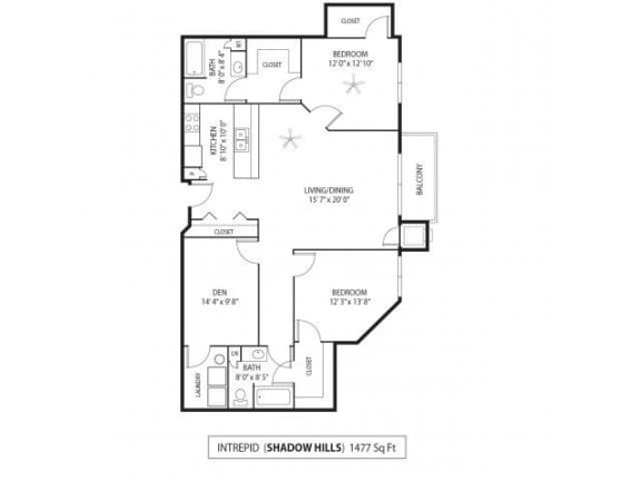 Floor Plan  Shadow Hills Apartments in Plymouth, MN 2 Bedroom 2 Bath