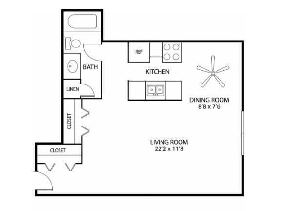 Floor Plan  Hamline Terrace Apartments in Roseville, MN Studio Apartment