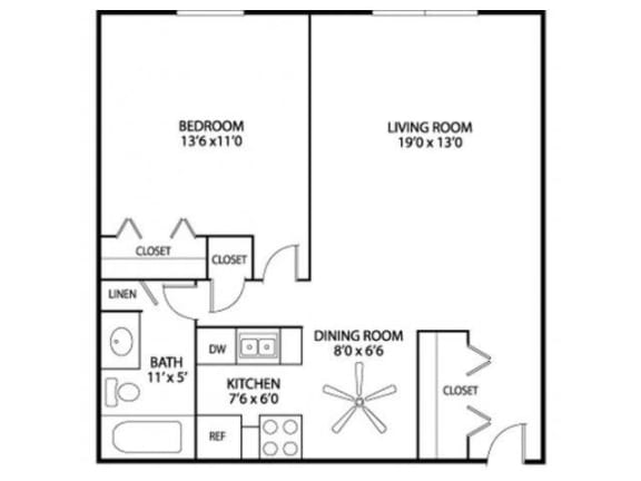 Floor Plan  Hamline Terrace Apartments in Roseville, MN 1 Bedroom 1 Bath Apartment