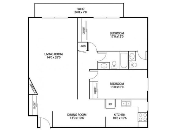Floor Plan  Hamline Terrace Apartments in Roseville, MN 2 Bedroom 1.5 Bath Apartment