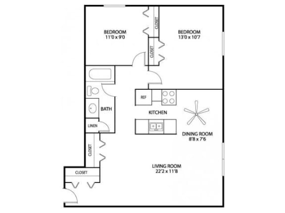 Floor Plan  Hamline Terrace Apartments in Roseville, MN 2 Bedroom 1 Bath Apartment