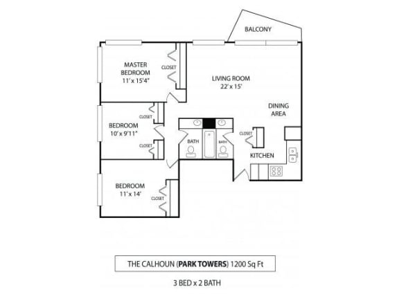 Floor Plan  Park Towers Apartments in St. Louis Park, MN 3 Bedroom 1.5 Bath