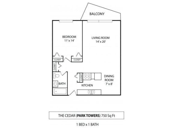 Park Towers Apartments in St. Louis Park, MN 1 Bedroom 1 Bath
