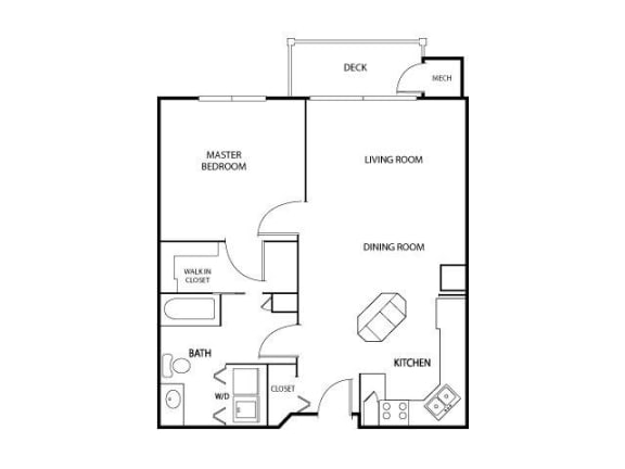 Floor Plan  The Gables at Park Pointe Apartments in St. Louis Park, MN 1 Bedroom 1 Bath, opens a dialog