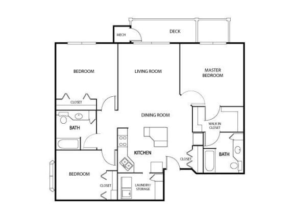 Floor Plan  The Gables at Park Pointe Apartments in St. Louis Park, MN 3 Bedroom 2 Bath, opens a dialog