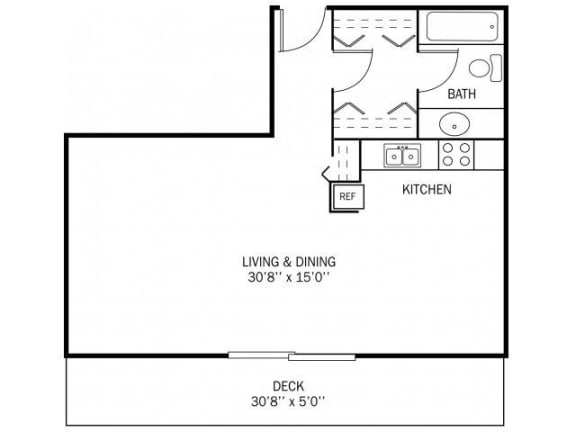 Floor Plan  Kellogg Square Apartments in St. Paul, MN Studio Apartment, opens a dialog