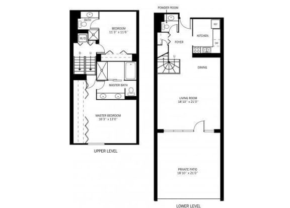 Floor Plan  Kellogg Square Apartments in St. Paul, MN 2 Bedroom 2 Bath Townhouse