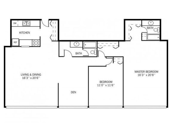 Floor Plan  Kellogg Square Apartments in St. Paul, MN 2 Bedroom Den 2 Bath Apartment