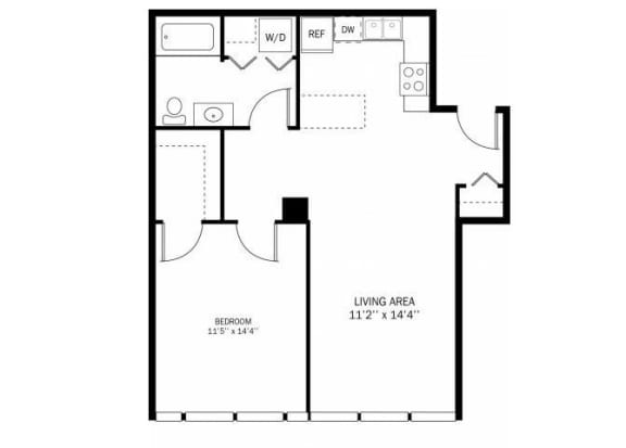 Floor Plan  Kellogg Square Apartments in St. Paul, MN 1 Bedroom 1 Bath Apartment