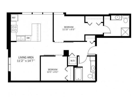 Kellogg Square Apartments in St. Paul, MN 2 Bedroom 2 Bath Apartment