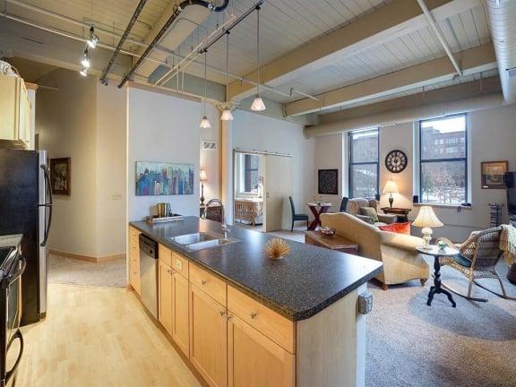 Lowertown Lofts Apartments in St. Paul, MN Kitchen