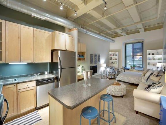 Lowertown Lofts Apartments in St. Paul, MN Exposed Beams Living Room