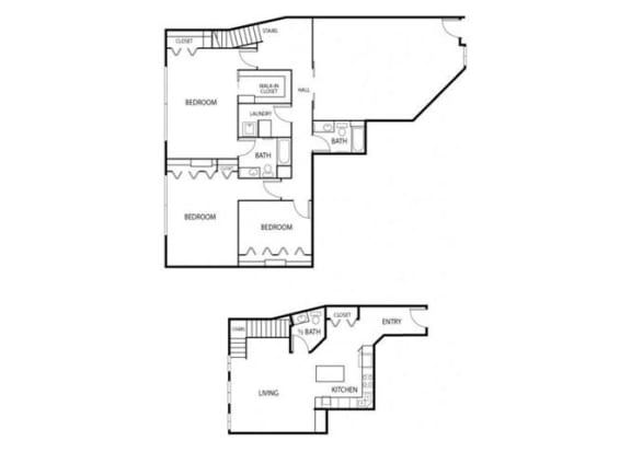 Floor Plan  Lowertown Lofts in St. Paul, MN 3 Bedroom 2.5 Bath Plus Den Apartment