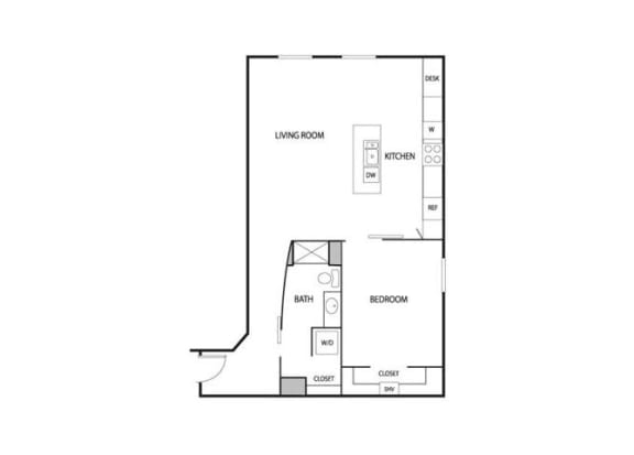 Floor Plan  Lowertown Lofts in St. Paul, MN 1 Bedroom 1 Bath Apartment, opens a dialog