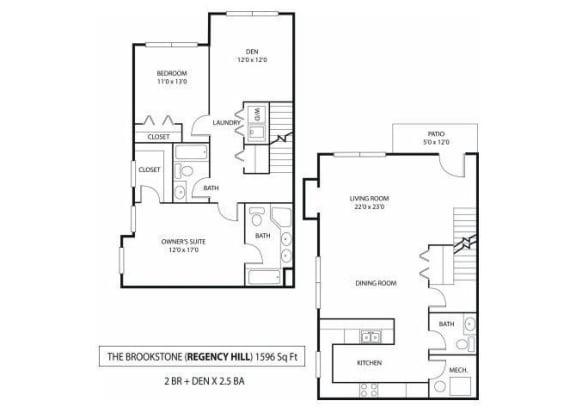 Floor Plan  Regency Hill Apartments in Woodbury, MN 2 Bedroom 2 Bath Den