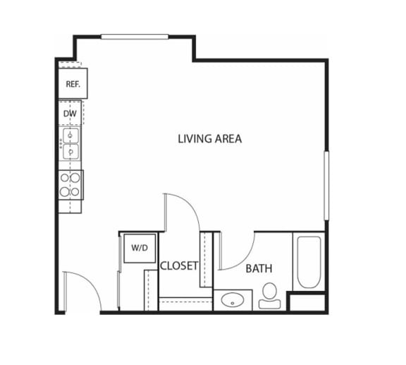 Floor Plan  Beach South at the Lake Apartments in Robbinsdale, MN Studio