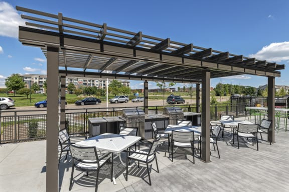 Nuvelo at Parkside Apartments in Apple Valley, MN Outdoor Patio with Grilling Stations