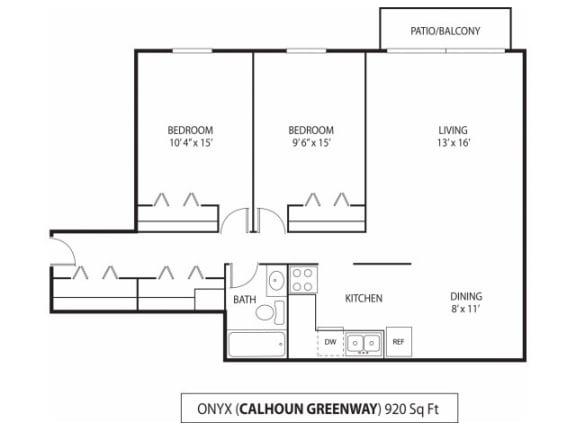 Floor Plan  The Calhoun Greenway Apartments in Minneapolis, MN 2 Bedroom 1 Bath