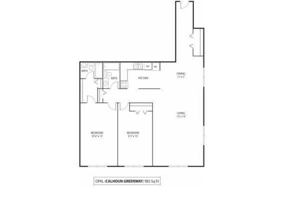 Floor Plan  The Calhoun Greenway Apartments in Minneapolis, MN 2 Bedroom 2 Bath