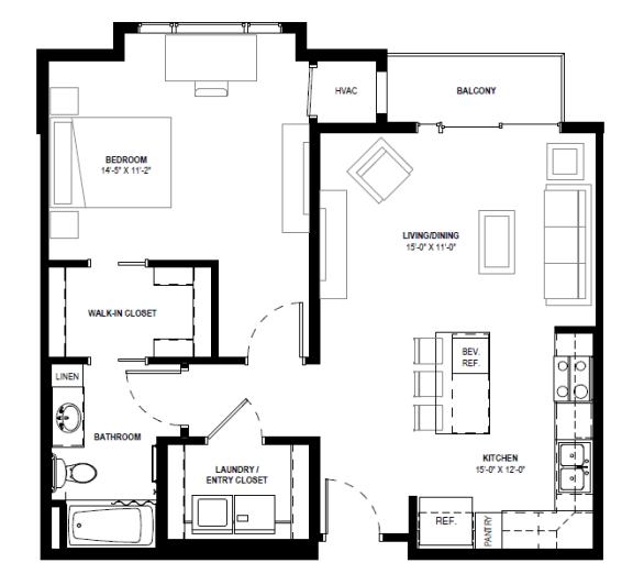 Floor Plan  Galante at Parkside in Apple Valley, MN 1 Bedroom 1 Bath Apartment