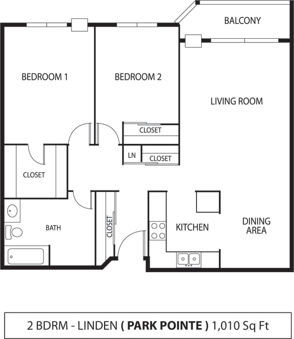 Floor Plan  Park Pointe Apartments in St. Louis Park, MN 2 Bedroom 1 Bath