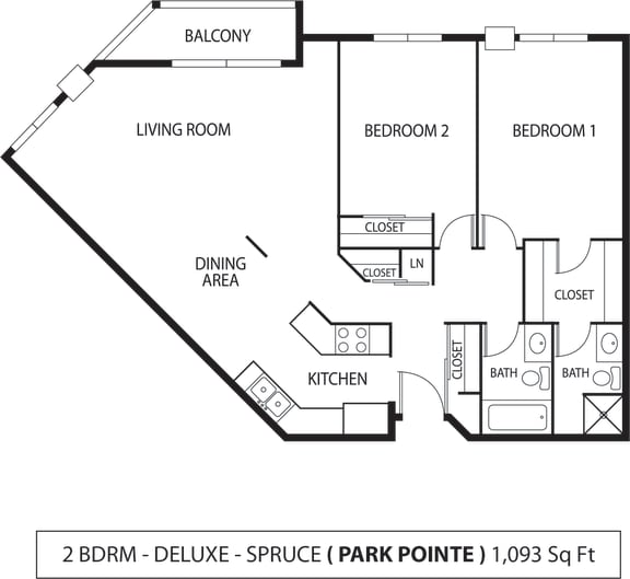 Floor Plan  Park Pointe Apartments in St. Louis Park, MN 2 Bedroom 1.75 Bath