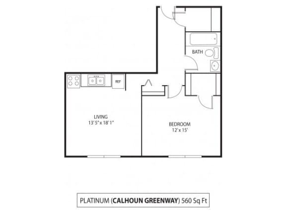 Floor Plan  The Calhoun Greenway Apartments in Minneapolis, MN 1 Bedroom 1 Bath, opens a dialog